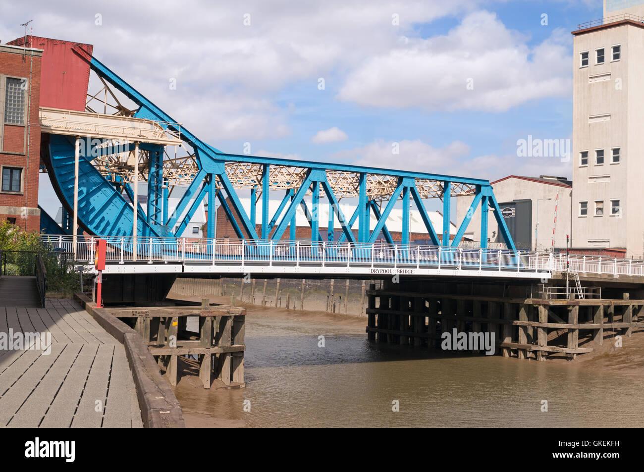 Scherzer rolling lift bascule Drypool Bridge, Kingston upon Hull, Yorkshire, England, UK - Stock Image