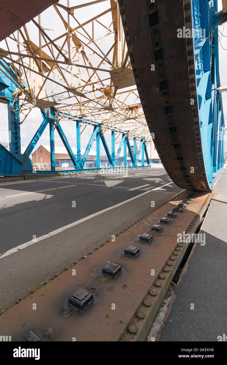 Mechanism of Scherzer rolling lift bascule Drypool Bridge, Kingston upon Hull, Yorkshire, England, UK - Stock Image