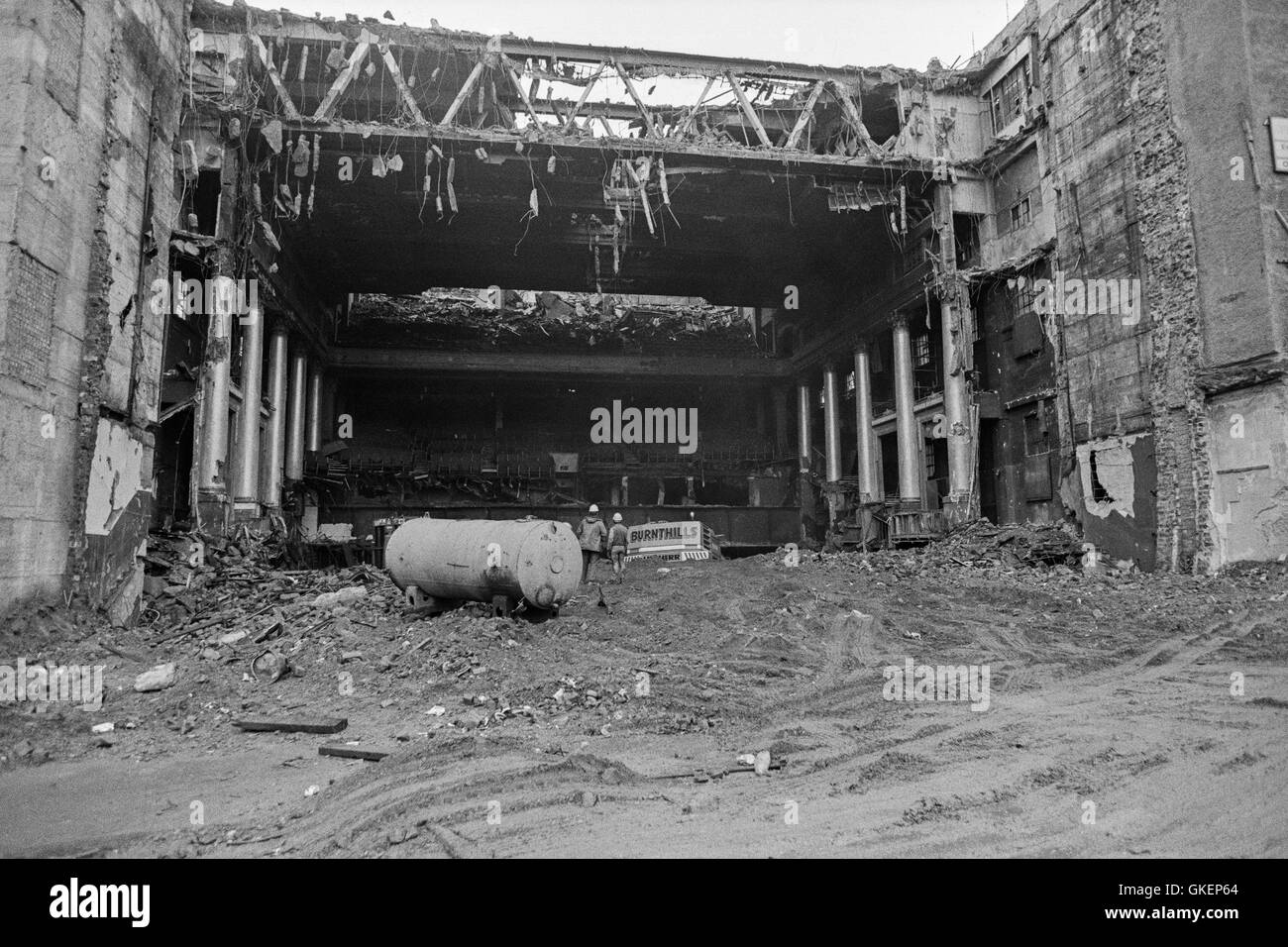 View taken from the stage end of The Apollo Theatre, Renfield Street Glasgow during its demolition in 1988 - Stock Image