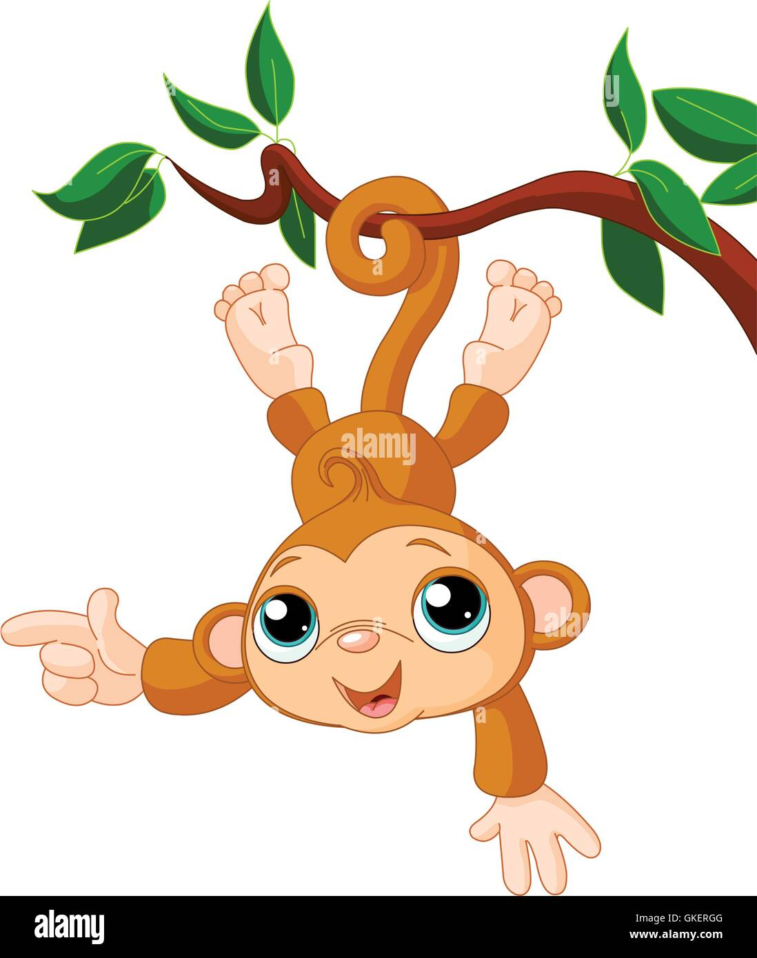 Monkey Swinging Tree Cut Out Stock Images Pictures Alamy