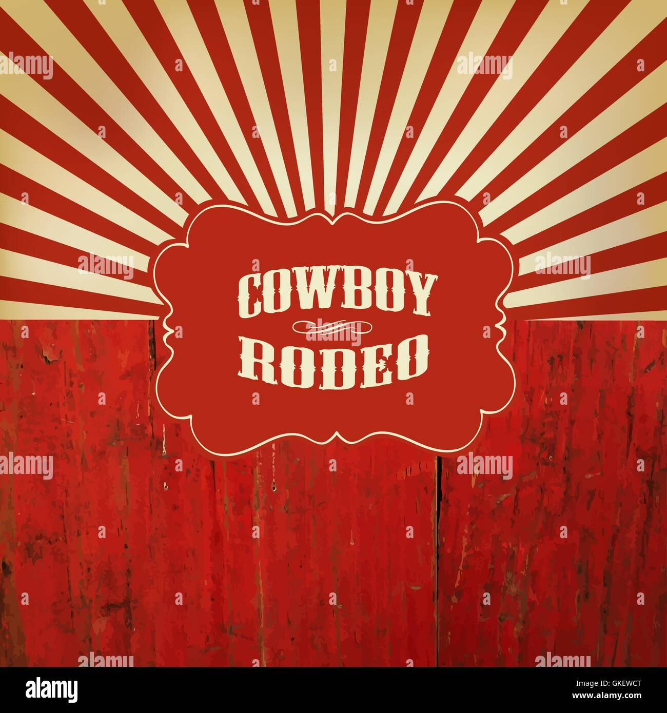 Wild West Rodeo Background. On Red Wooden Fence Stock Vector Art ... 4a1f74077512
