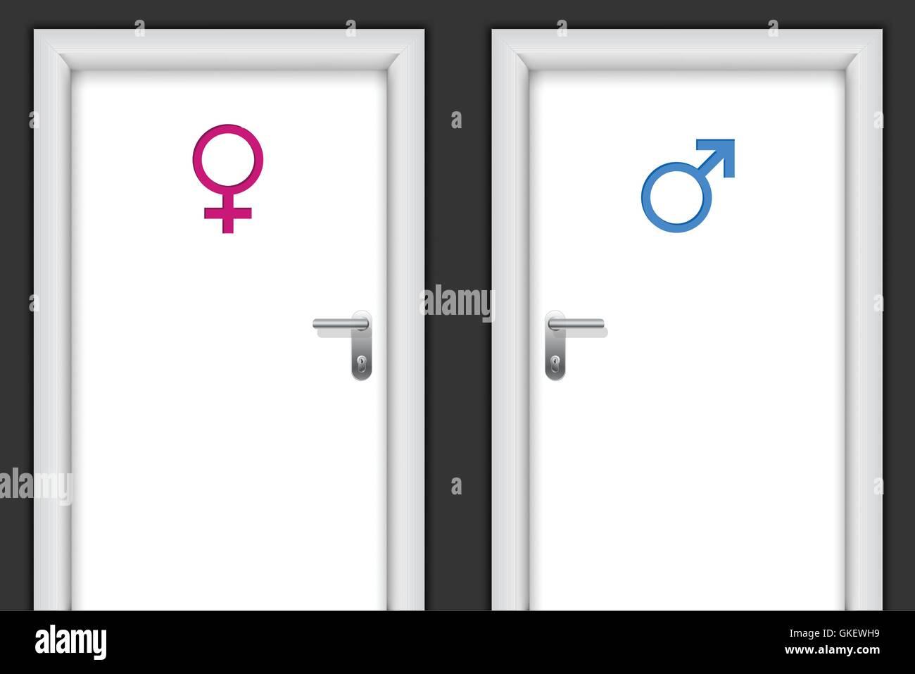 Restroom doors with gender symbols - Stock Image