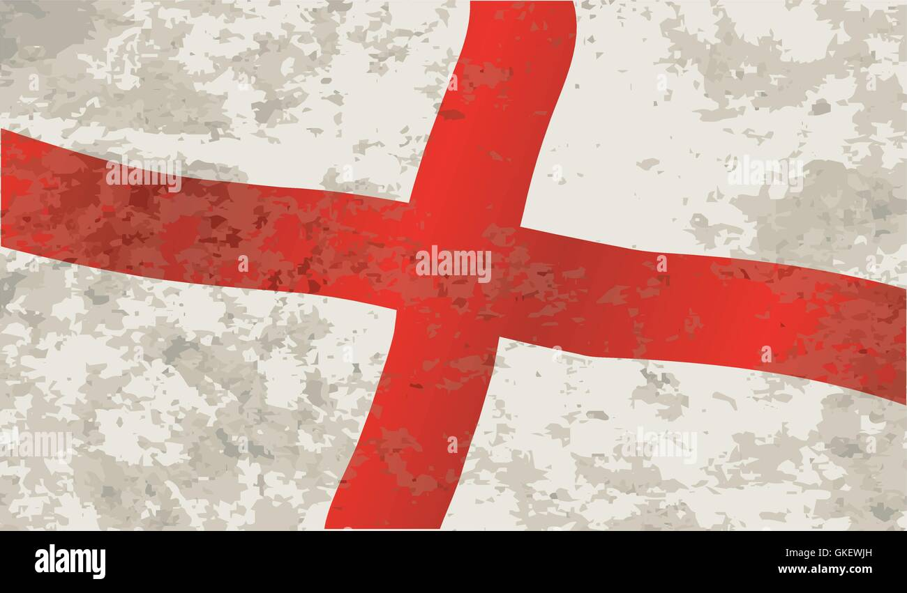 Flag of England and Saint George Grunge - Stock Vector