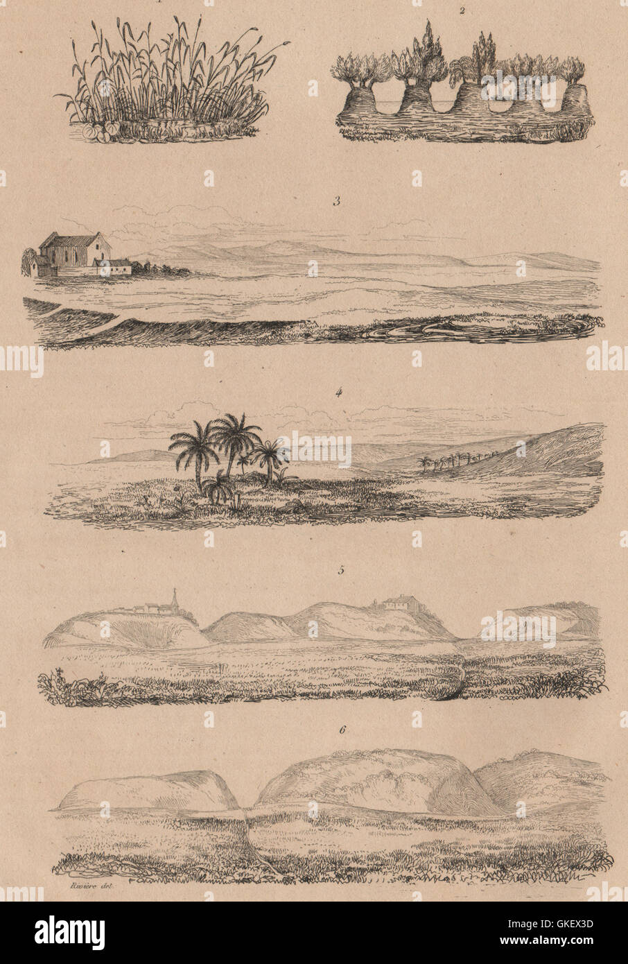 SEASCAPES: Plages. Beaches. Coastal scenery. III, antique print 1834 - Stock Image