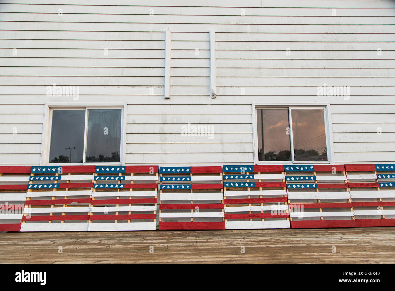 A Patriotic Display Of Wooden Pallets Painted In American Flag Motifs Red White And Blue
