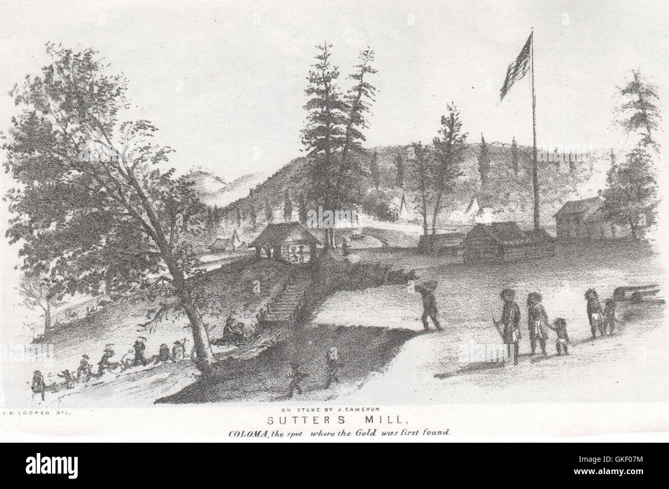 'Sutter's Mill, Coloma…where gold was first found', California. G. Cooper, 1853 - Stock Image