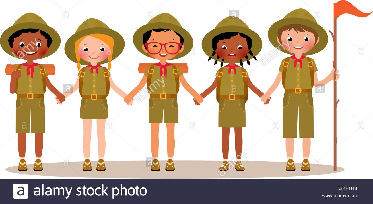 Group of children boys and girls scouts in the uniform - Stock Image
