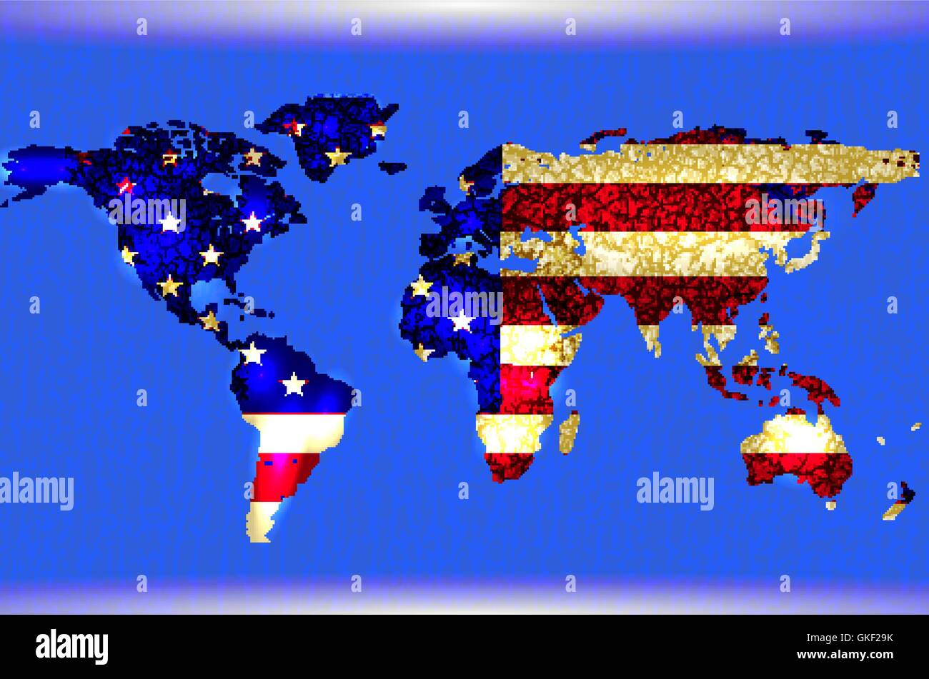 blue illustrated world map abstract texture lines american flag stock image
