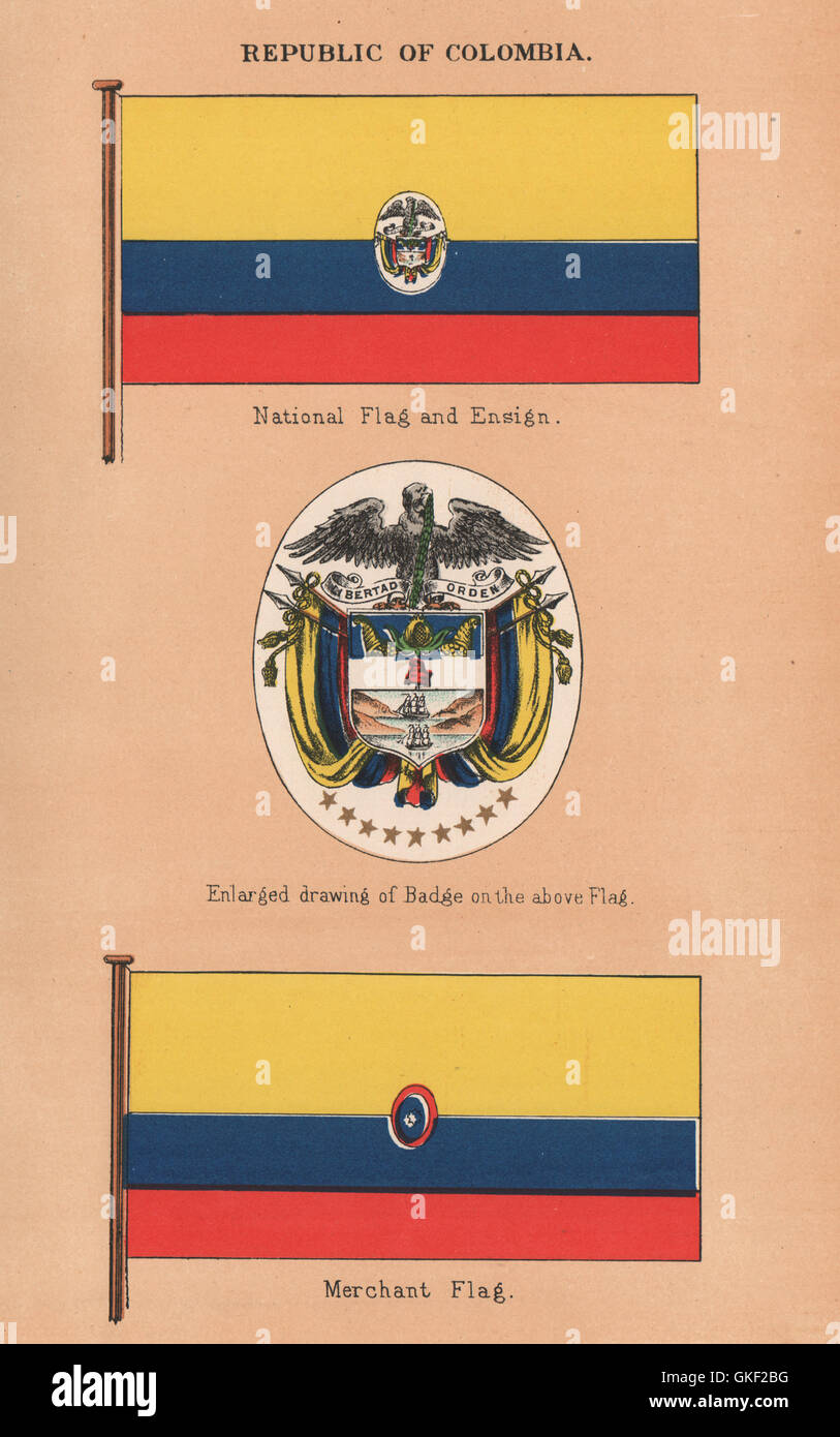 COLOMBIA FLAGS. National Flag U0026 Ensign. Enlarged Badge. Merchant Flag, 1916