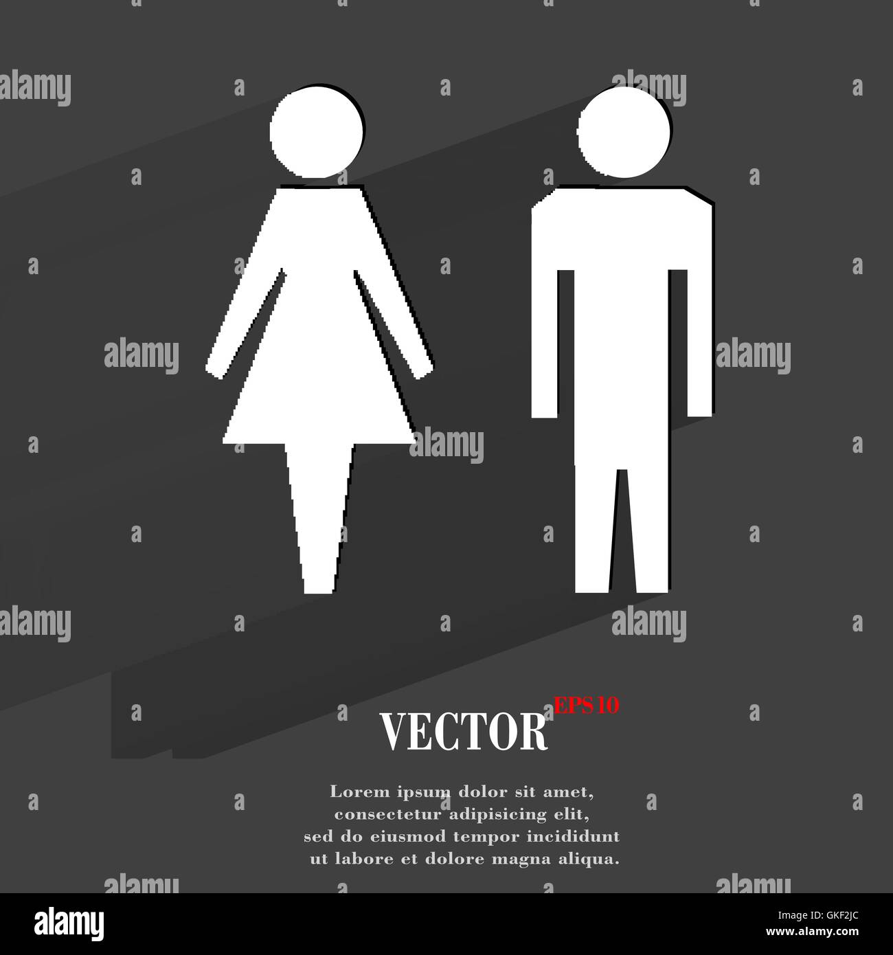 suluet men, women  Flat modern web button with long shadow