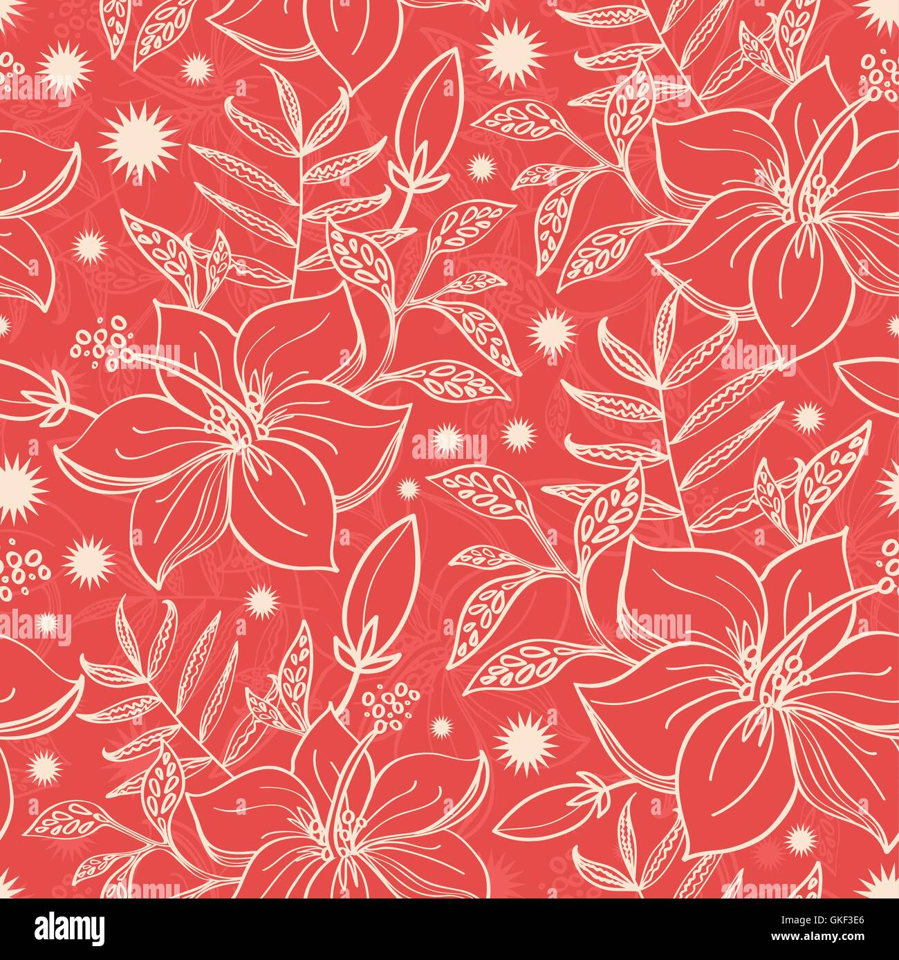 Vector red and beige tropical floral seamless pattern background - Stock Image