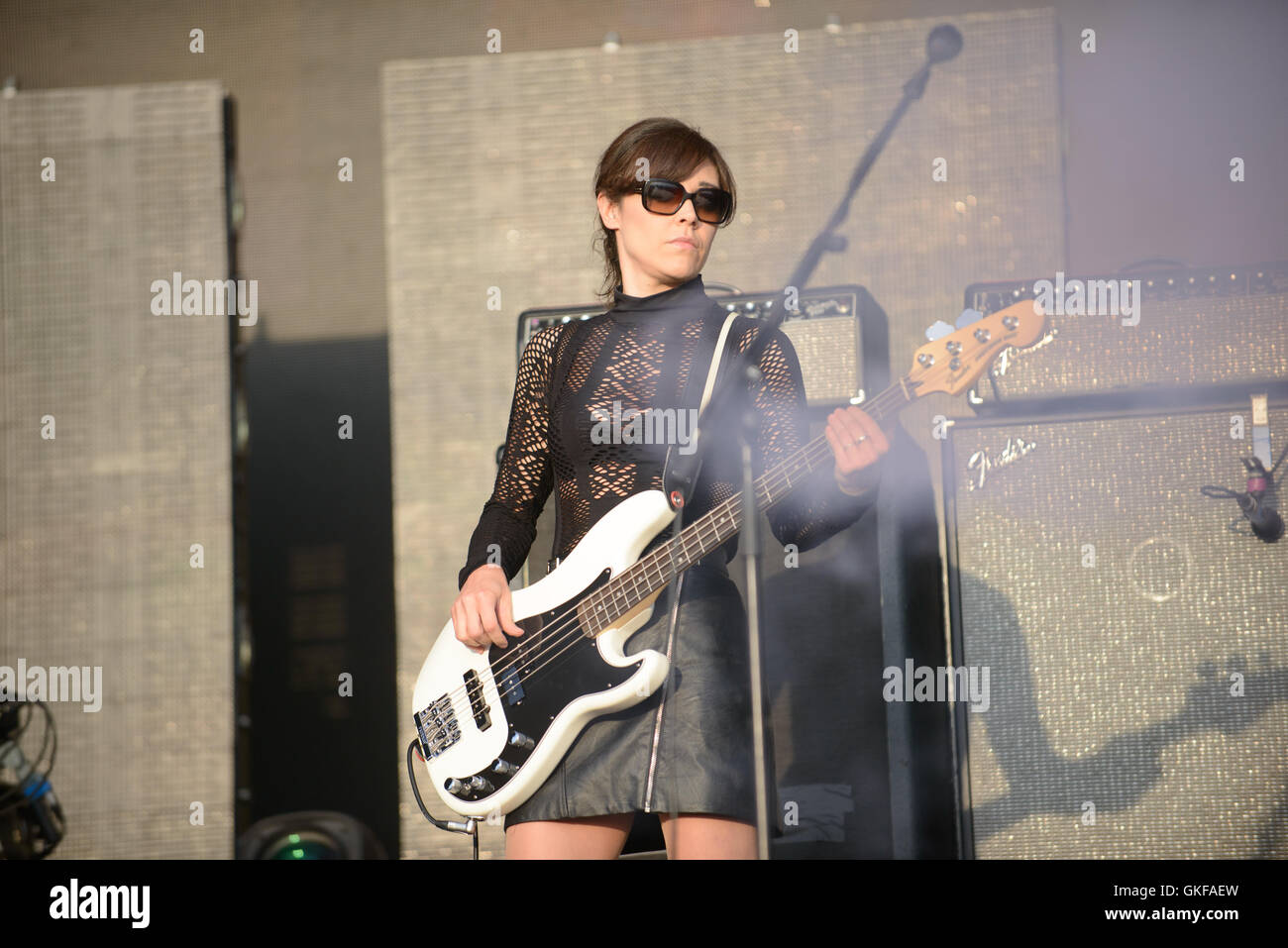 Bobby Gillespie and Primal Scream playing the 2016 Boardmasters festival - Stock Image
