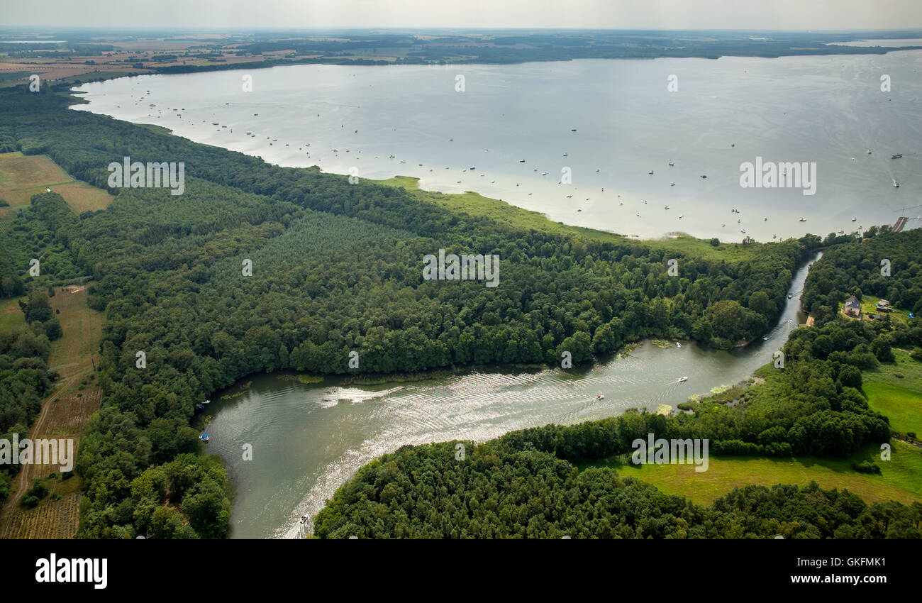Aerial view, Reeckkanal, Waren (Müritz), moorings from sailboats on the Müritz, Müritz, wooded area, - Stock Image