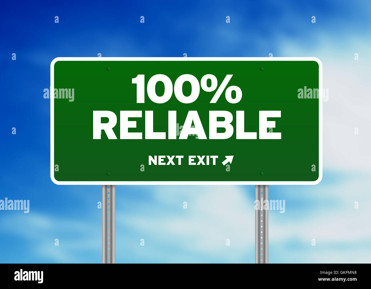 100% Reliable Road Sign - Stock Image