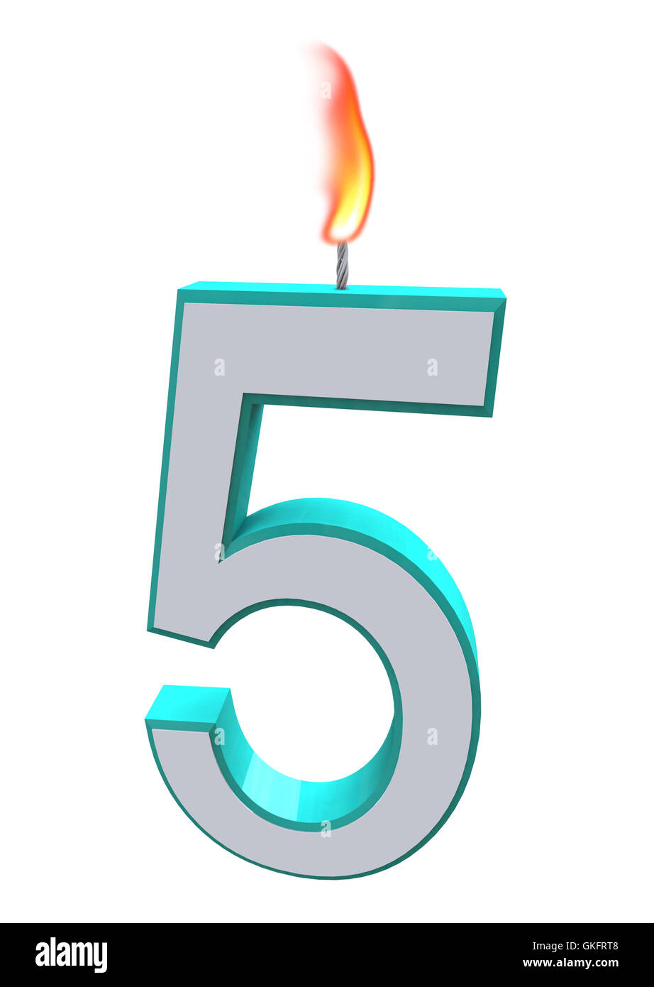 Number Five Candle - Stock Image