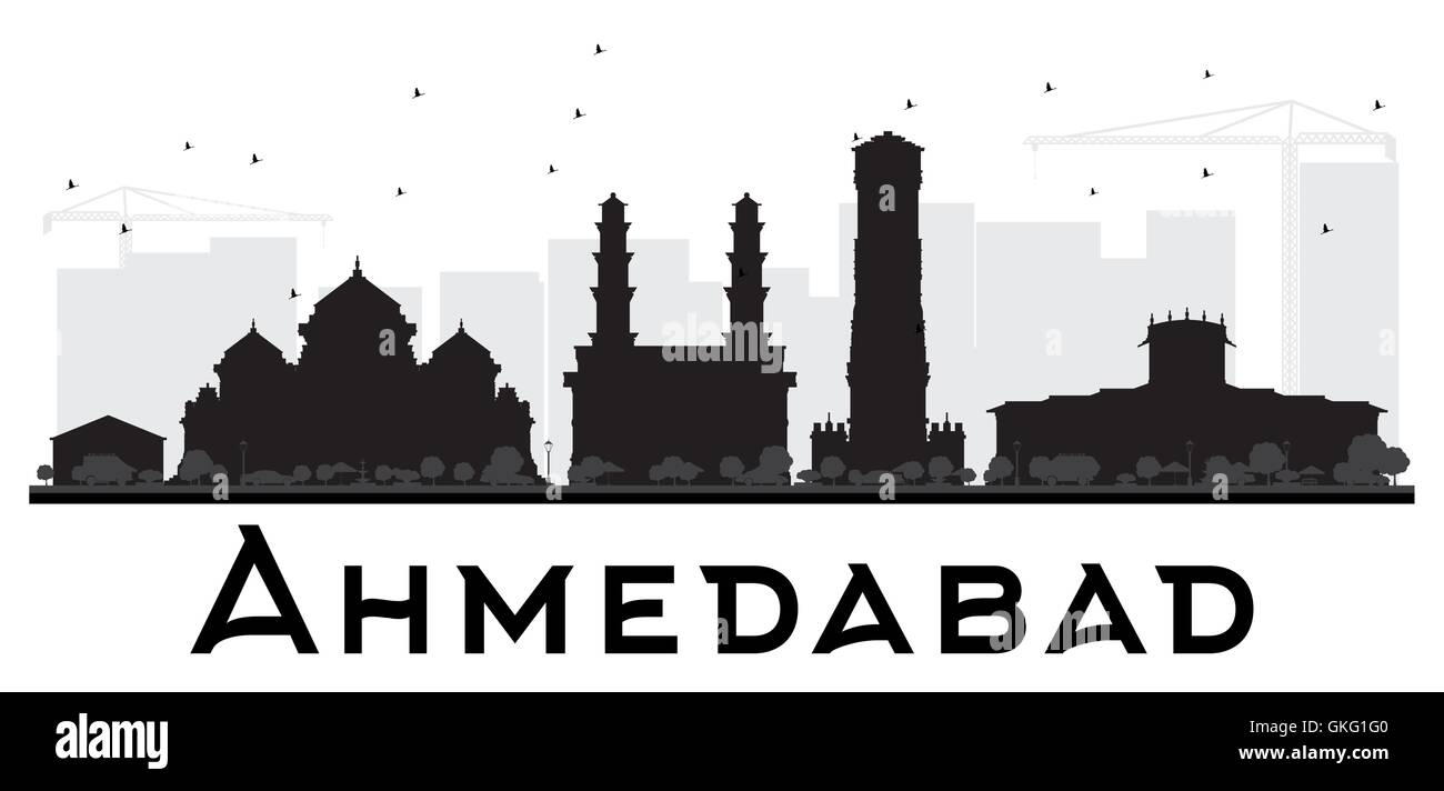 Ahmedabad City skyline black and white silhouette. Vector illustration. Simple flat concept for tourism presentation, - Stock Vector