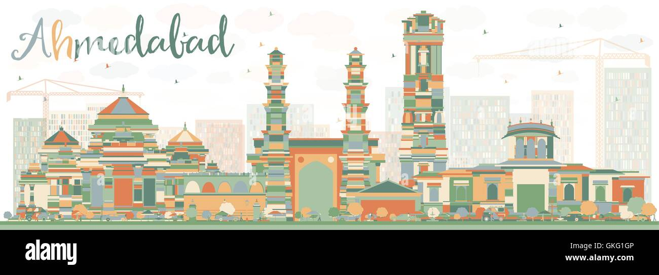 Abstract Ahmedabad Skyline with Color Buildings. Vector Illustration. Business Travel and Tourism Concept with Historic - Stock Vector