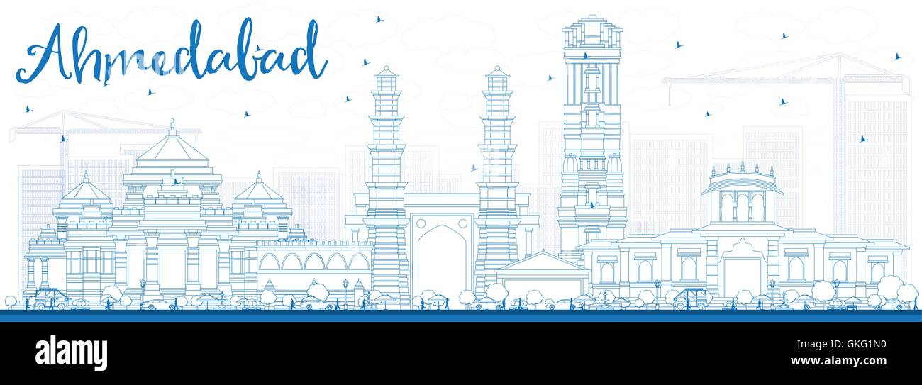 Outline Ahmedabad Skyline with Blue Buildings. Vector Illustration. Business Travel and Tourism Concept with Historic - Stock Vector