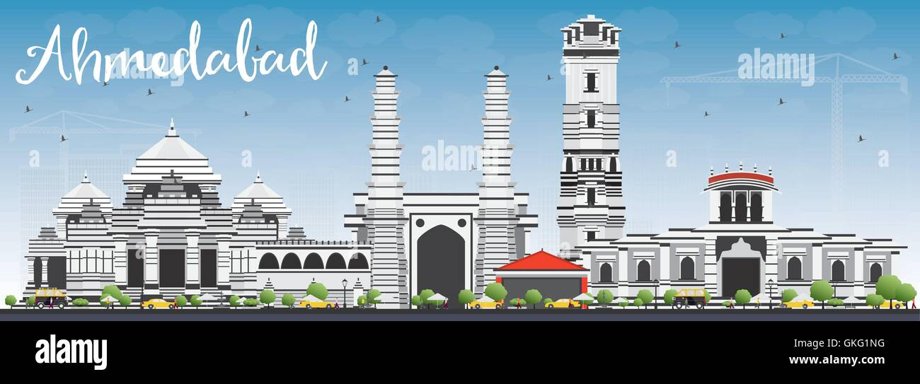 Ahmedabad Skyline with Gray Buildings and Blue Sky. Vector Illustration. Business Travel and Tourism Concept - Stock Vector