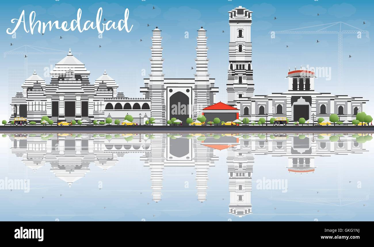 Ahmedabad Skyline with Gray Buildings, Blue Sky and Reflections. Vector Illustration. Business Travel and Tourism - Stock Vector