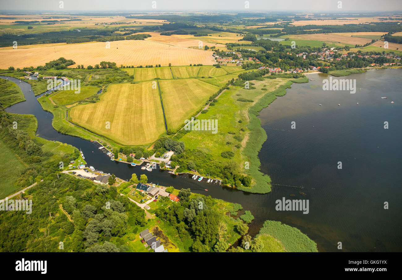 Aerial view, water walking resting place Aalbude at Villa Verchen, Peene, Peene course, Dargun, Mecklenburg Seascape, - Stock Image
