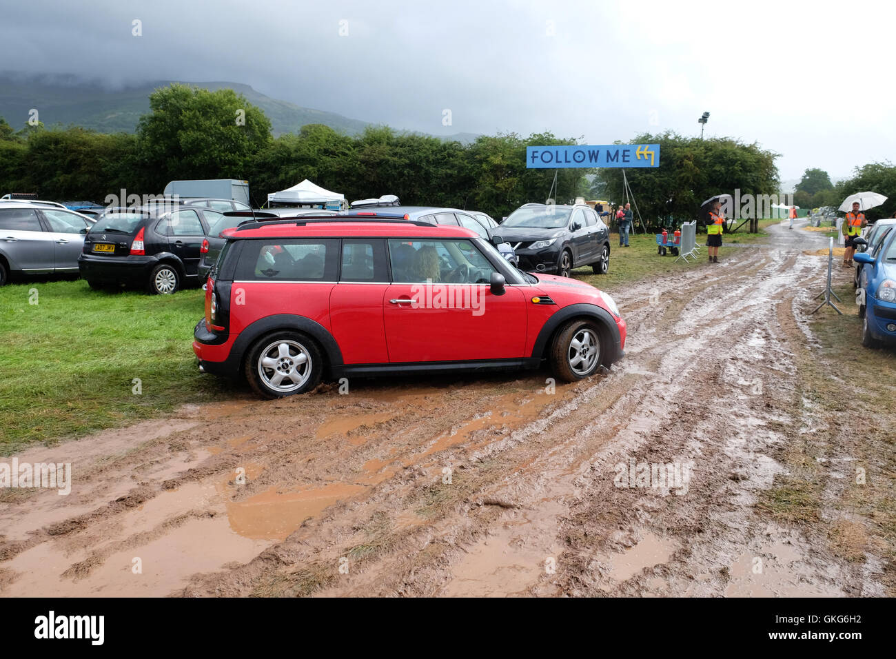 Green Man Festival, Crickhowell, Wales  - Saturday 20th August 2016 - UK Weather - Heavy overnight rain has turned - Stock Image