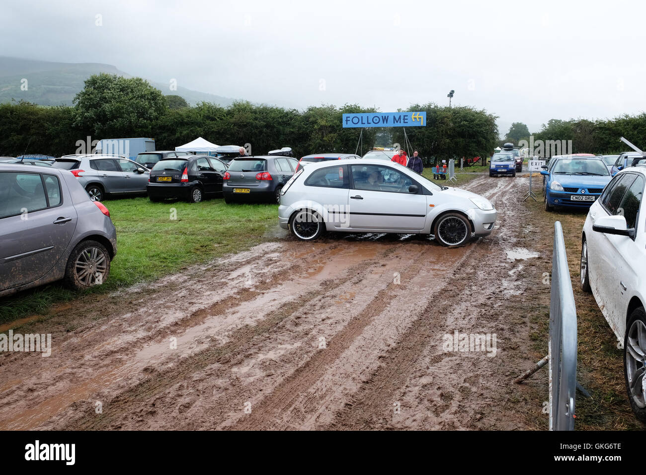 Green Man Festival, Crickhowell, Wales  - August 2016 - Heavy overnight rain has turned the car park routes into - Stock Image