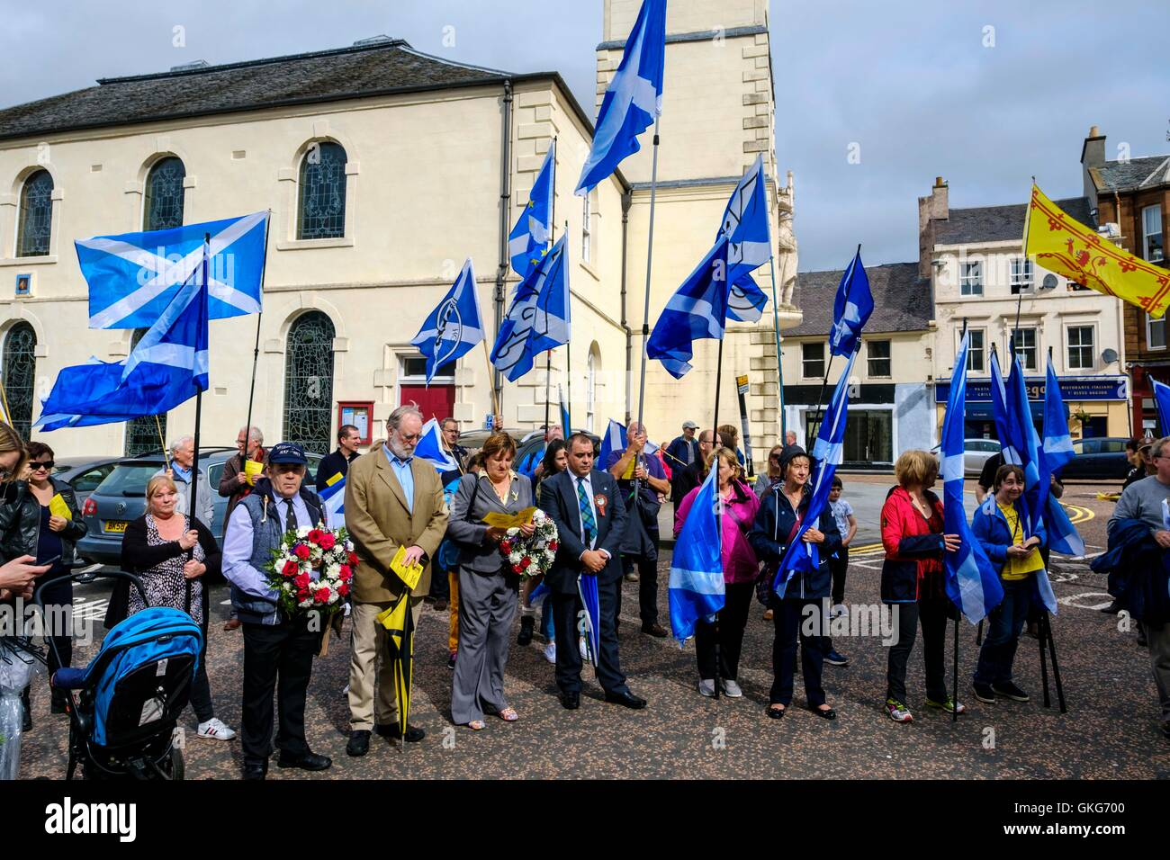 Lanark, Scotland, UK 20th August 2016   A march and ceremony to commemorate the death of Scottish Hero William Wallace - Stock Image