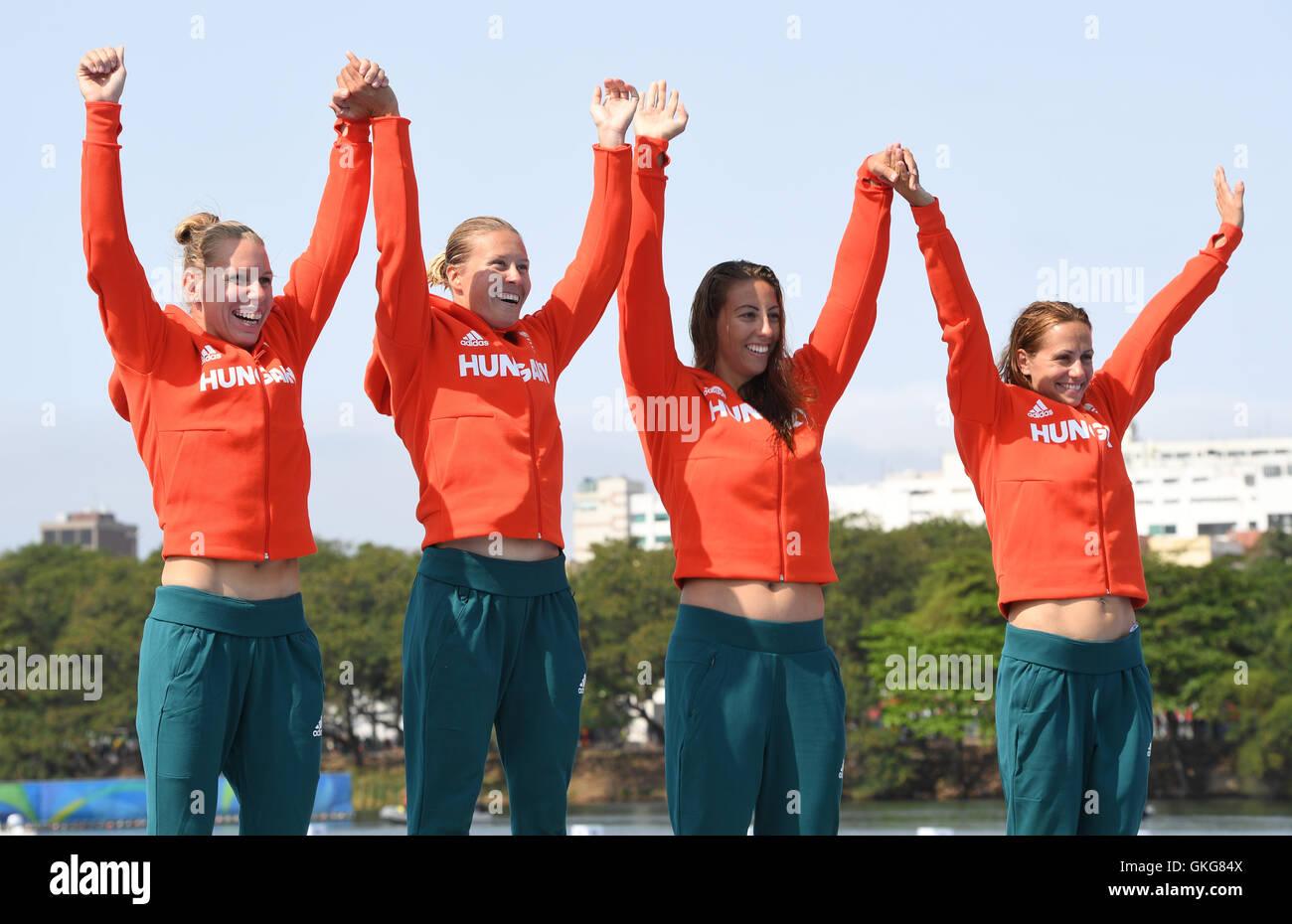 Rio de Janeiro, Brazil. 20th Aug, 2016. L-R: Gold medalists Gabriella Szabo, Danuta Kozak, Tamara Csipes and Krisztina - Stock Image