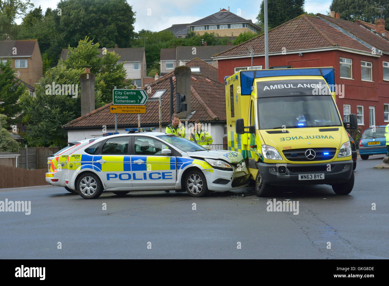 Bristol, UK. 20th August, 2016.  Wells Road Junction of Airport Road Traffic Lights. Police car and Ambulance crash Stock Photo