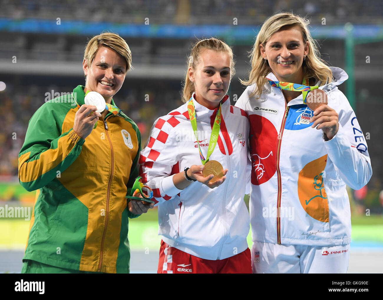 Rio de Janeiro, Brazil. 19th August, 2016. Sunette Viljoen of South Africa (silver), Sara Kolak of Croatia (gold) - Stock Image
