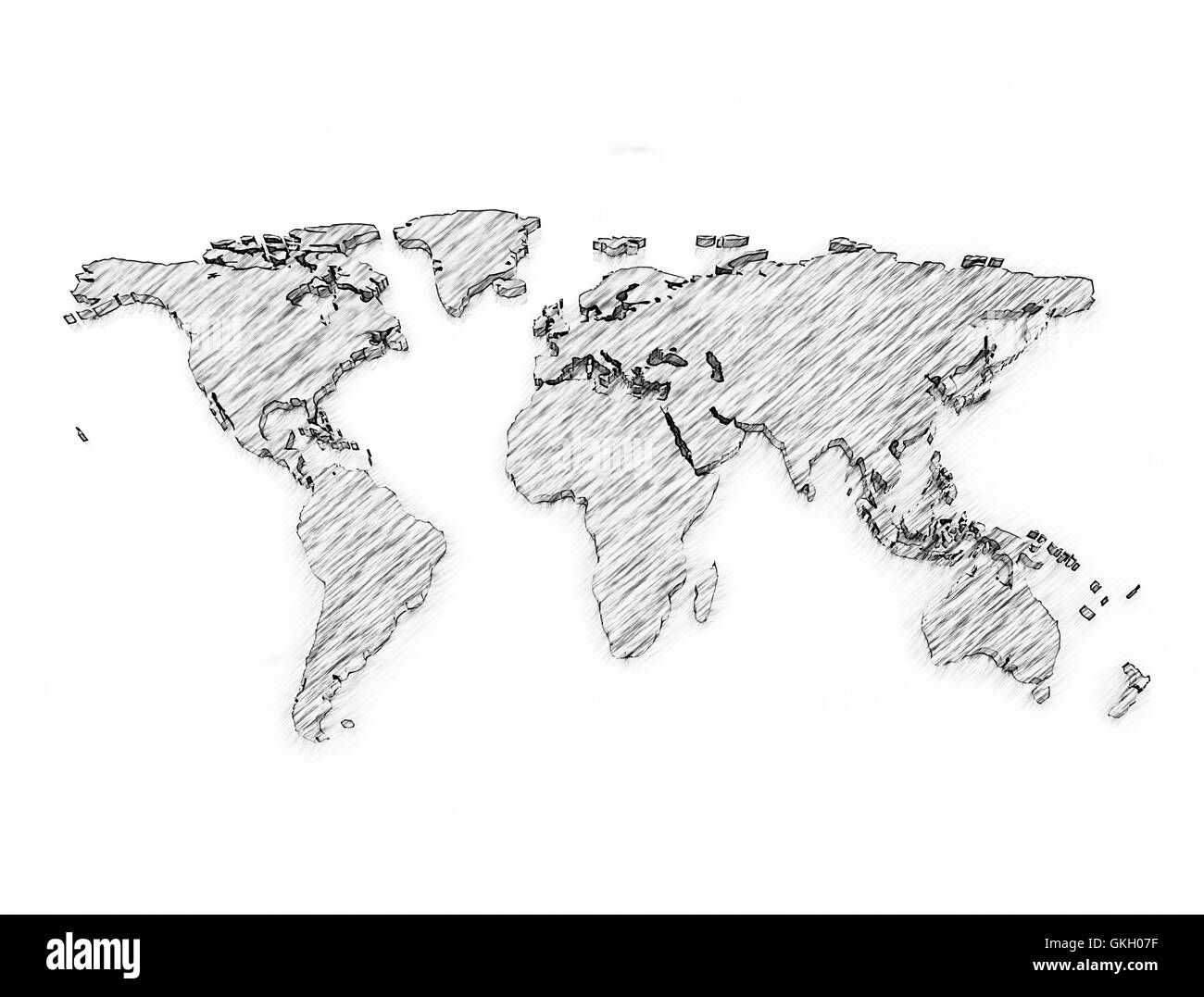 Pencil sketch world map