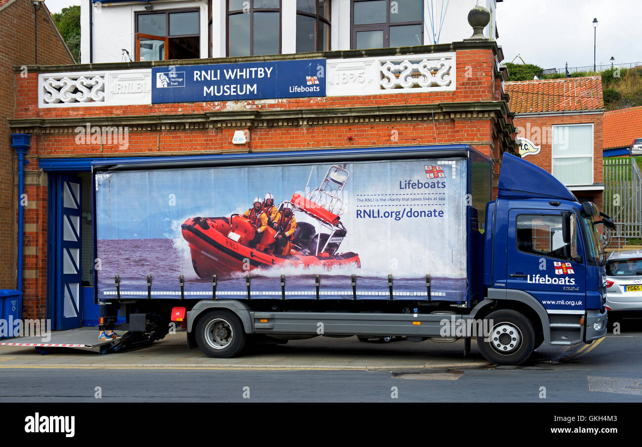 Lorry parked in front of the RNLI Museum, Whitby, North Yorkshire, England UK - Stock Image
