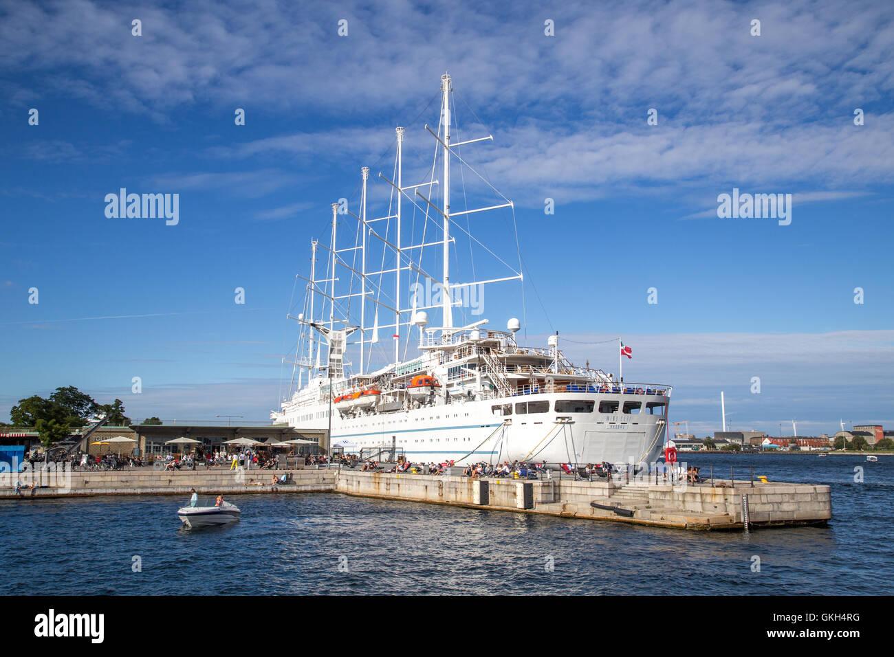 Copenhagen, Denmark - August 17, 2016: Cruise ship Wind Surf anchored in Copenhagen harbour Stock Photo