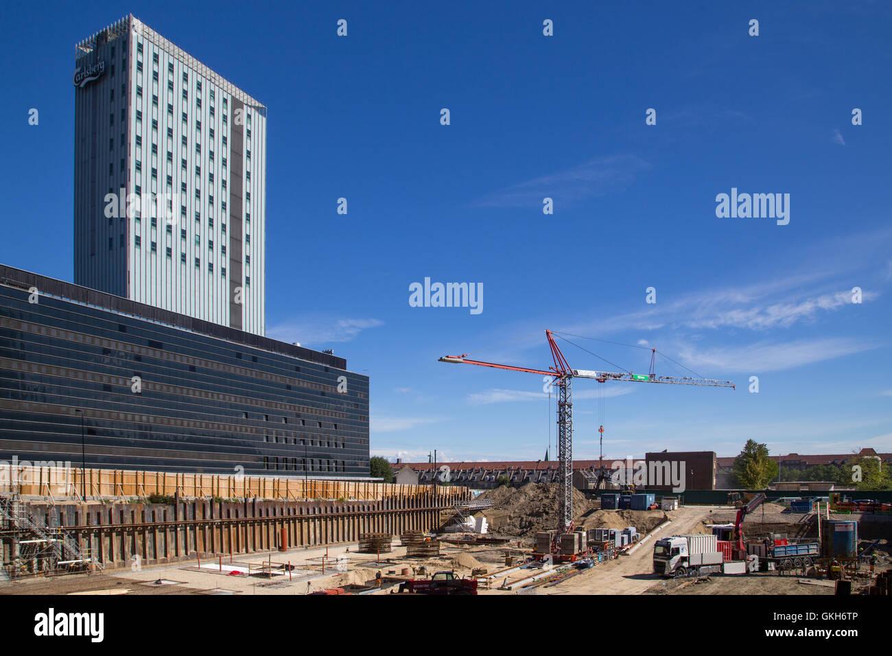 Copenhagen, Denmark - August 17, 2016:  Construction site in the Carlsberg district - Stock Image