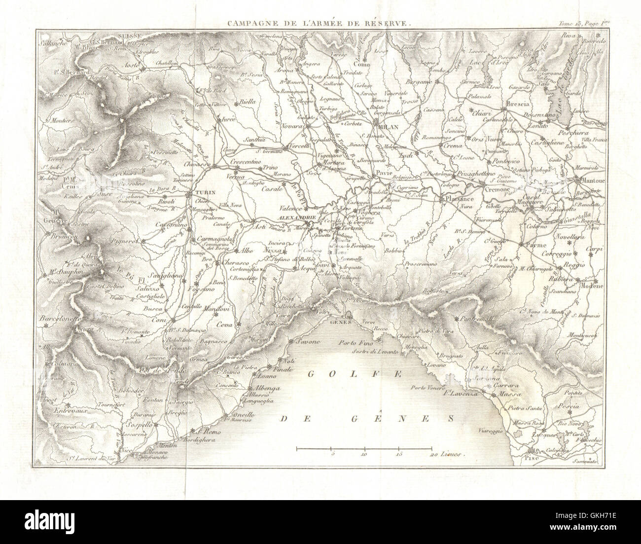 Map Of North West Italy.North West Italy Piemonte Liguria Piedmont 1819 Antique Map Stock