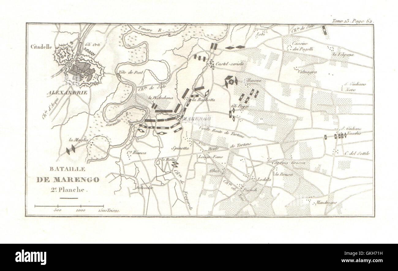 Battle of Marengo 1800 Plate 2 Alessandria Italy 1819 antique