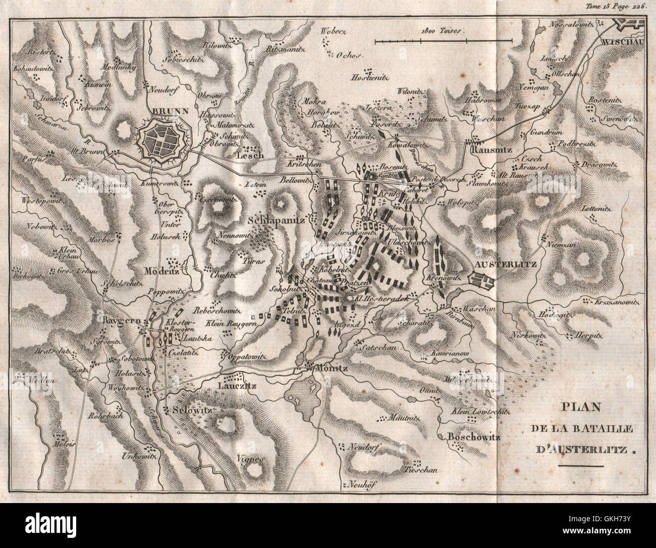 Plan of the BATTLE OF AUSTERLITZ (Slavkov u Brna). Brno. Czech Republic 1819 map - Stock Image