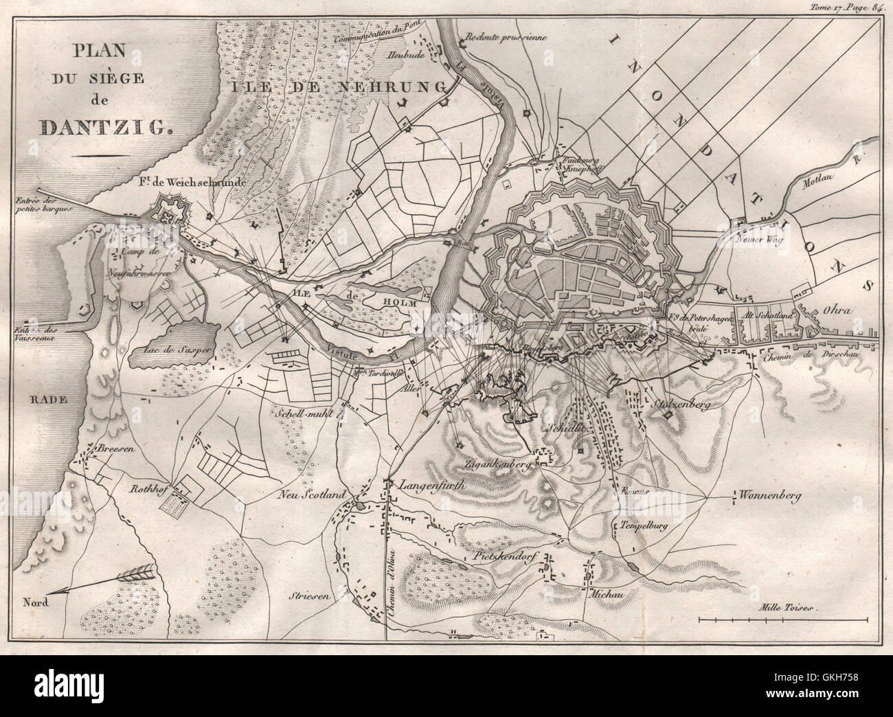 SIEGE OF DANZIG 1807. Poland, 1820 antique map - Stock Image