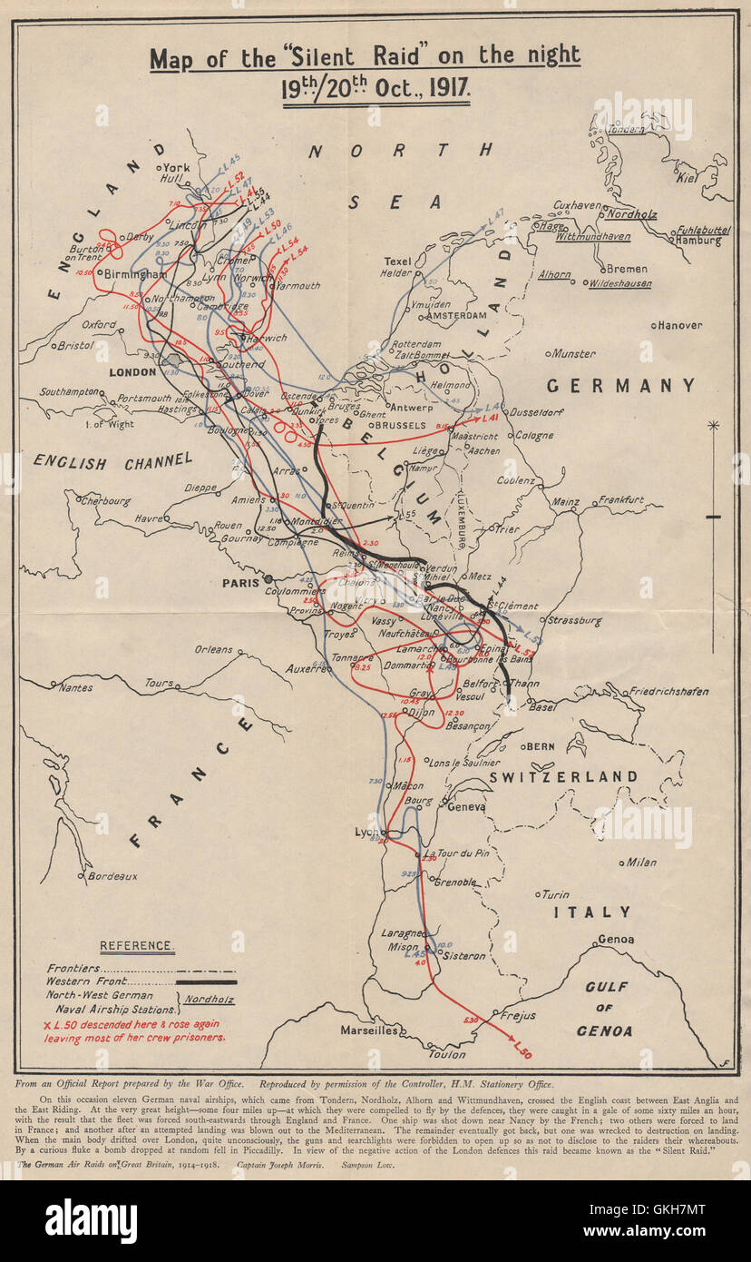 The 'Silent [Zeppelin airship] raid' on the night of 19-20th Oct 1917, 1925 map - Stock Image