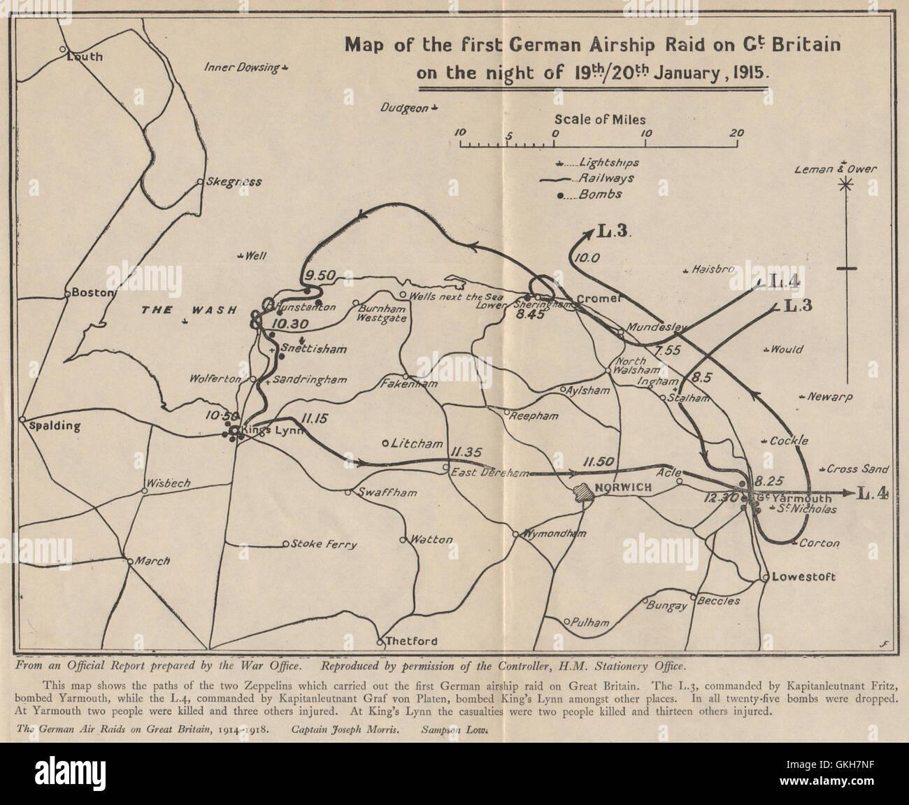 1st German Zeppelin Airship L3 L4 raid on England 19 Jan 1915. Norfolk, 1925 map - Stock Image