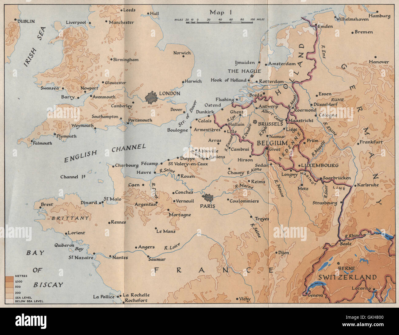 Map Of Northwest France.North West Europe In 1940 France Belgium Holland Germany Hmso