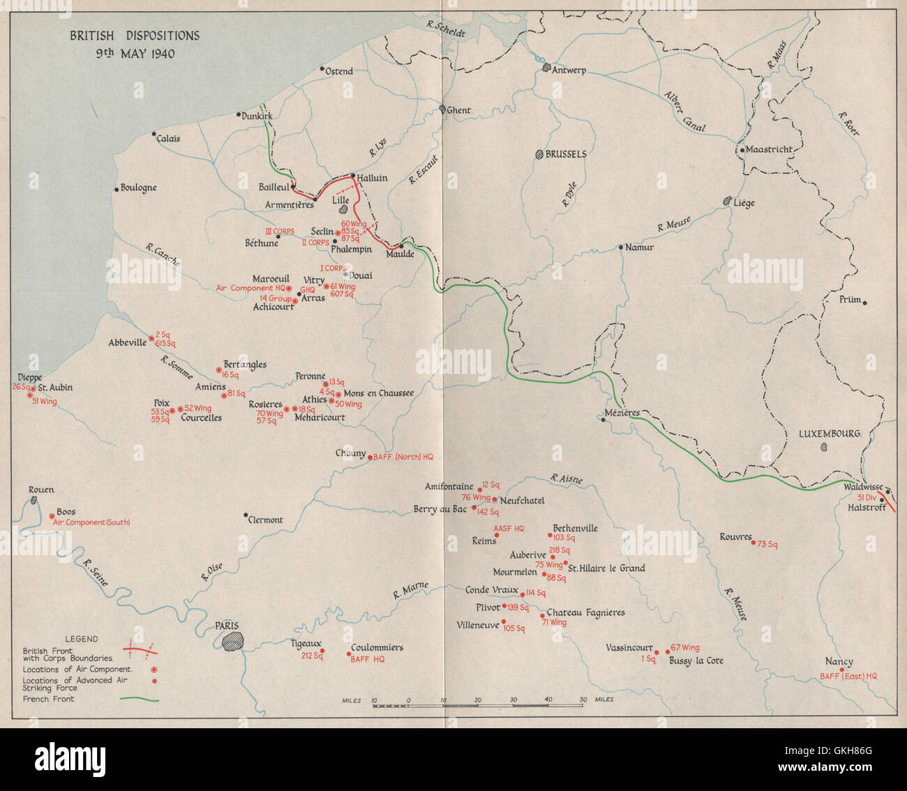 Map Of France 1940.Fall Of France British Troop Dispositions 9th May 1940 French