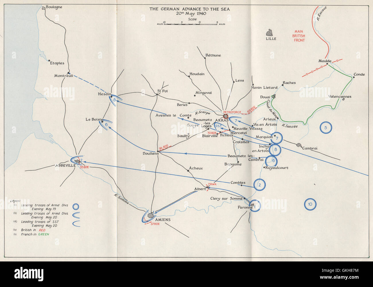 Map Of France 1940.Fall Of France 1940 German Advance To The Sea 20 May Arras Stock