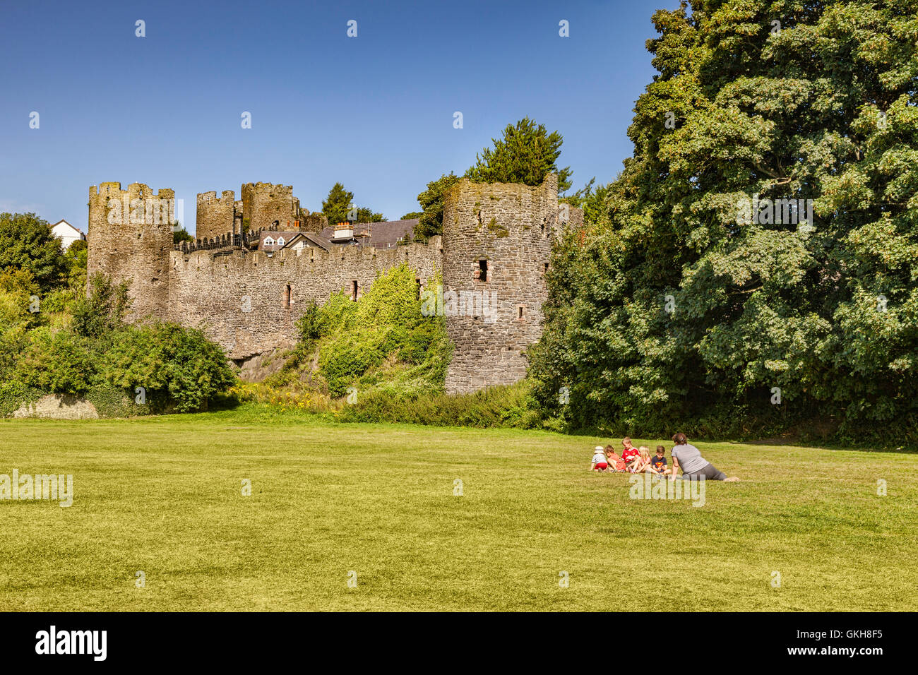 The medieval town walls of Conwy, Wales, UK - Stock Image