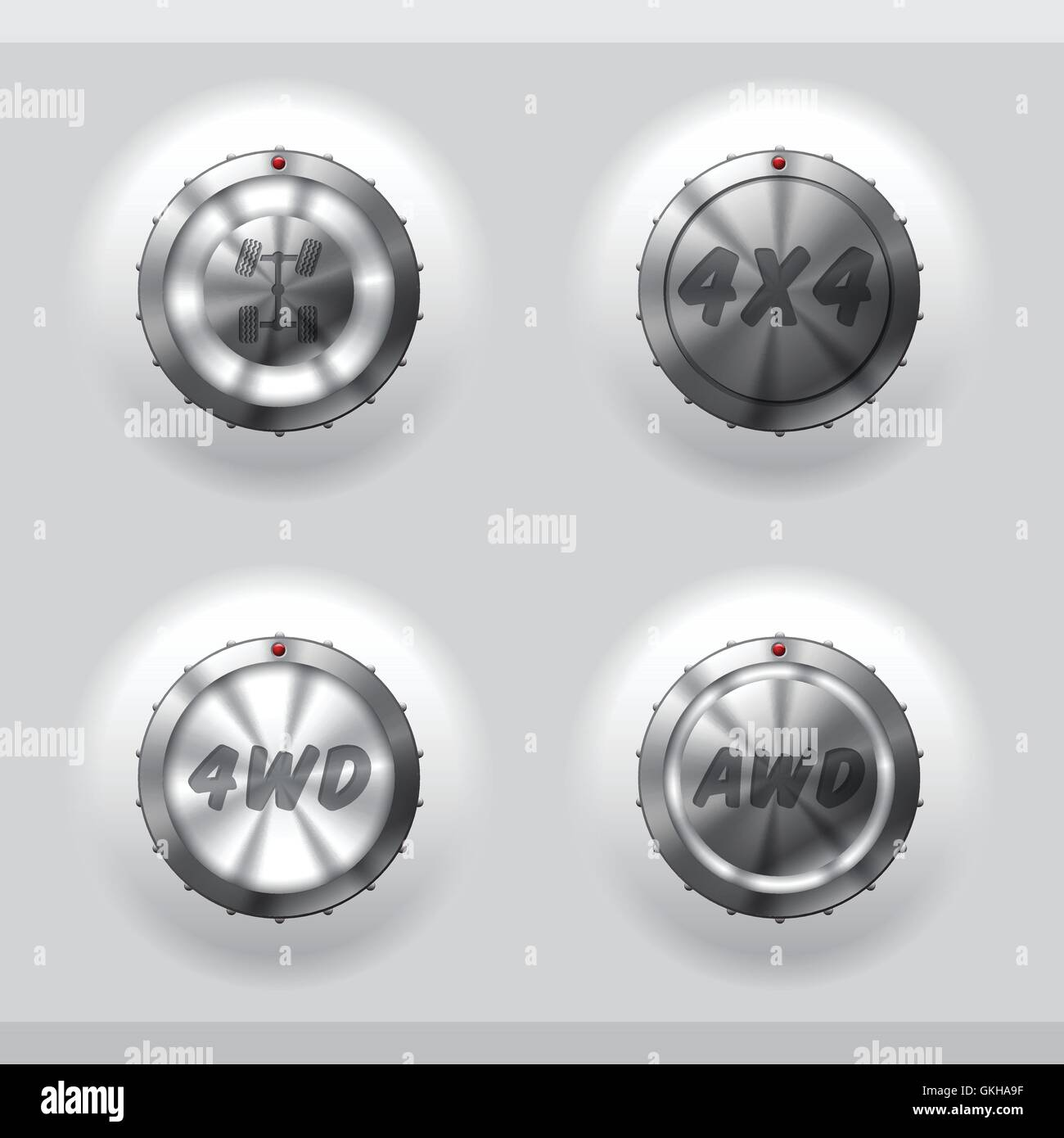 All wheel drive activation buttons - Stock Image