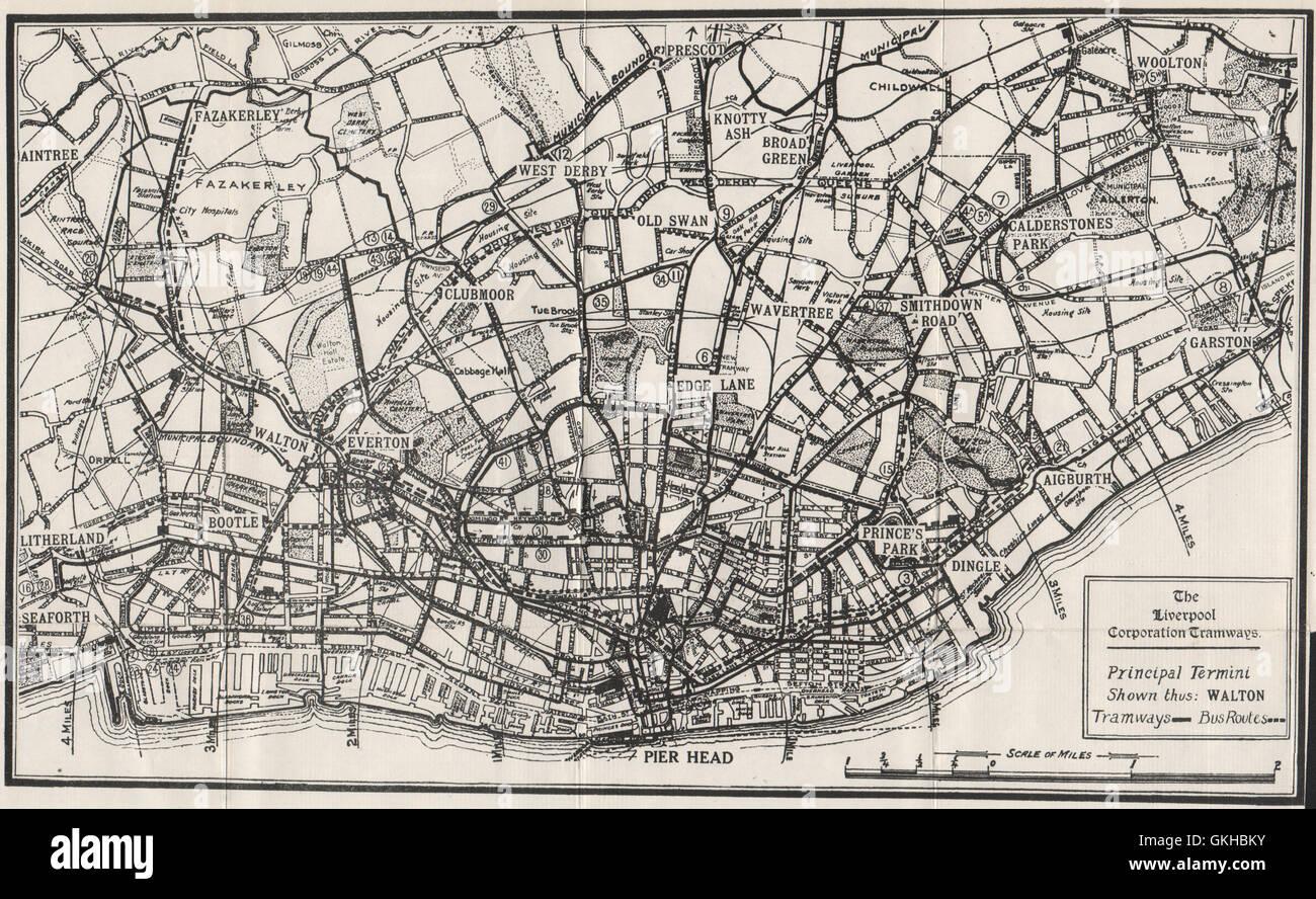THE LIVERPOOL CORPORATION TRAMWAYS. Everton Bootle Garston. WARD LOCK, 1936 map - Stock Image