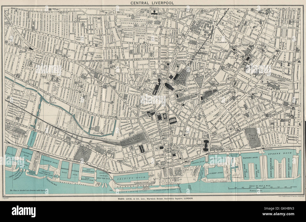 CENTRAL LIVERPOOL vintage town/city plan. Liverpool. WARD LOCK, 1936 old map - Stock Image