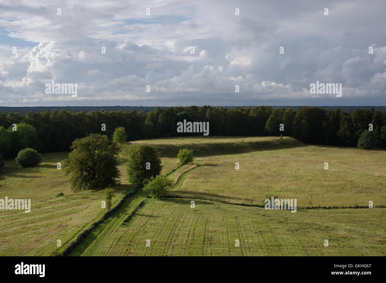 Soontagana Stronghold seen from Soontagana Watchtower. Pärnu county, Estonia - Stock Image