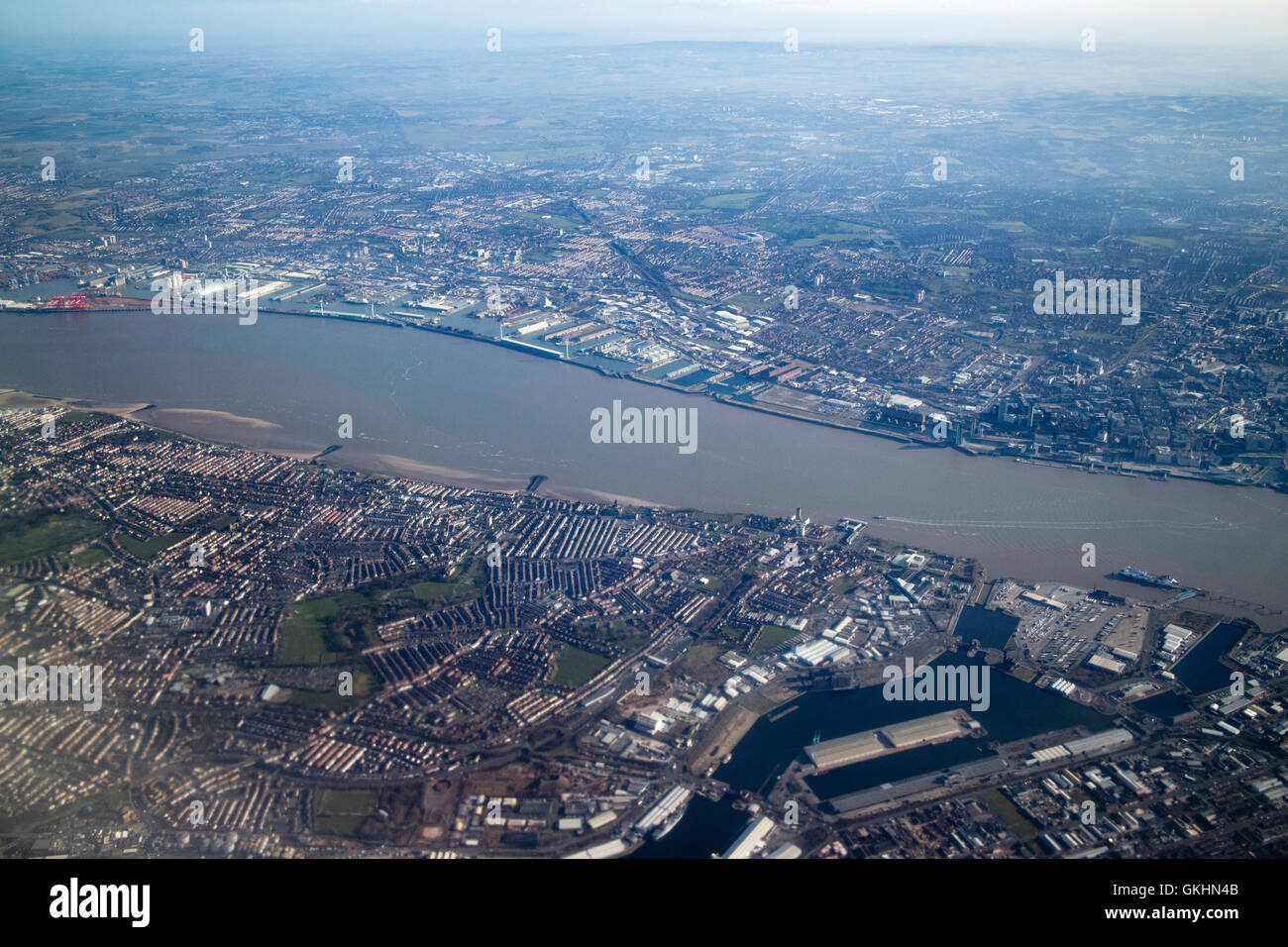 aerial view of Liverpool, birkenhead and the river Mersey - Stock Image